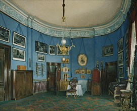 Interiors of the Winter Palace. The Bedroom of Crown Prince Nikolay Aleksandrovich, 1865. Artist: Hau, Eduard (1807-1887)