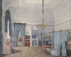 Interiors of the Winter Palace. The Fifth Reserved Apartment. The Bedroom of Grand Princess Maria Alexandrovna, 1873. Artist: Hau, Eduard (1807-1887)