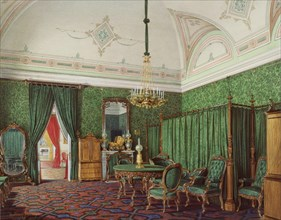 Interiors of the Winter Palace. The Third Reserved Apartment. A Bedroom, 1873. Artist: Hau, Eduard (1807-1887)