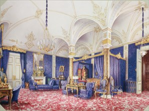 Interiors of the Winter Palace. The Bedchamber of Empress Maria Alexandrovna, 1859. Artist: Premazzi, Ludwig (Luigi) (1814-1891)