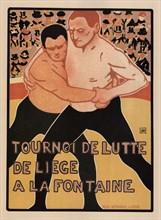 Wrestling tournament, Liège, 1899. Artist: Rassenfosse, Armand (1862-1934)