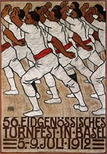56th Federal Gymnastics Festival in Basel, 1912. Artist: Renggli, Eduard, the Younger (1882-1939)