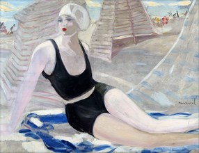 Bather in black swimming suit. Artist: Marval, Jacqueline (1866-1932)