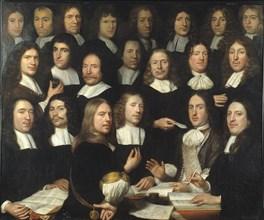 Group Portrait of the Mint Masters of Dordrecht. Artist: Hoogstraten, Samuel Dirksz, van (1627-1678)