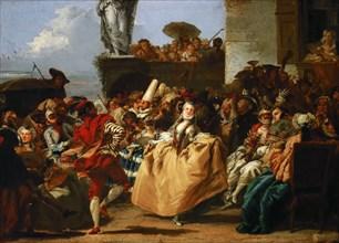 Carnival Scene (The Minuet). Artist: Tiepolo, Giandomenico (1727-1804)