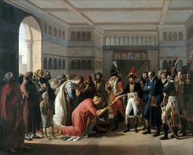 Bonaparte presents the sabre to military commander of Alexandria, July 1798. Artist: Mulard, François Henri (1769-1850)