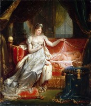 Empress Marie-Louise With the Sleeping King of Rome. Artist: Franque, Joseph-Boniface (1774-1833)
