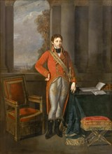 Napoleon Bonaparte as First Consul before a view of Antwerp. Artist: Greuze, Jean-Baptiste (1725-1805)