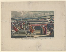 Selim III, Sultan of the Turks, welcomed to his new infantry review in countryside. Artist: Anonymous