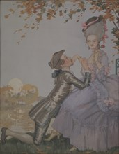 A young Man kneeling before a Lady. Artist: Somov, Konstantin Andreyevich (1869-1939)