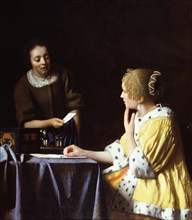 Lady with Her Maidservant Holding a Letter. Artist: Vermeer, Jan (Johannes) (1632-1675)