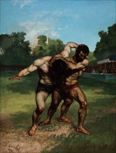 The Wrestlers. Artist: Courbet, Gustave (1819-1877)