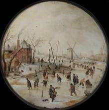Frozen River with Skaters. Artist: Avercamp, Hendrick (1585-1634)