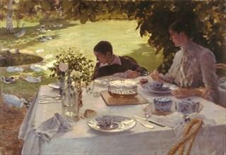 Breakfast in the garden. Artist: De Nittis, Giuseppe (1846-1884)