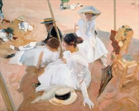 Under the awning, on the Beach at Zarautz. Artist: Sorolla y Bastida, Joaquín (1863-1923)
