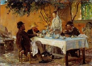 Breakfast in Sora. Artist: Krøyer, Peder Severin (1851-1909)