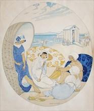Chatting on the Danish Beach. Artist: Wegener, Gerda (1886-1940)