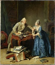 Between science and family, ca 1775. Artist: Kraus, Georg Melchior (1737-1806)
