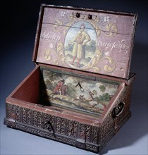 Wooden cash (or writing) box with poptrait of Peter the Great's son, ca. 1695. Artist: Anonymous master