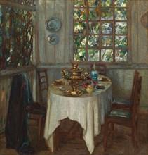 Interior with samovar, 1914. Artist: Zhukovsky, Stanislav Yulianovich (1873-1944)