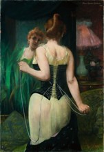 Young Woman Adjusting Her Corset, 1893. Artist: Carrière-Belleuse, Pierre (1851-1933)
