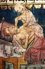 Death Strangling a Victim of the Plague. From the Stiny Codex, 14th century. Artist: Anonymous