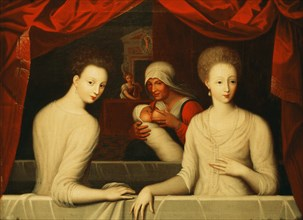 Gabrielle d'Estrées and one of her sisters, duchesse de Villars, End of 16th century. Artist: Anonymous