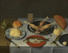 Breakfast with bread, cheese, fish and beer, c. 1615. Artist: Hulsdonck, Jacob van (1582-1647)