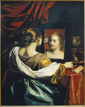 Vanity or Young woman at her toilet, c. 1626. Artist: Renieri (Régnier), Niccolo (c. 1590-1667)