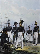 The Guards Équipage Artillery Company and Guards Cargo Company, 1829. Artist: Belousov, Lev Alexandrovich (1806-1864)