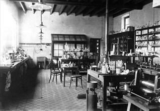 Laboratorium of Alfred Nobel at his Villa in Sanremo, 1890s. Artist: Anonymous