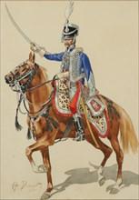 Russian Hussar Raising his Sabre.