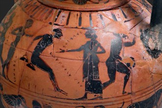 The long jump event at the ancient Olympic Games, Attic black-figured cup, 540 BC.