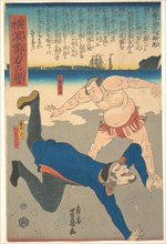 Sumo Wrestler Tossing a Foreigner.