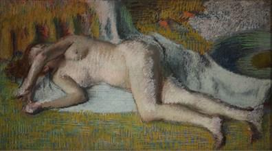 Rest after the bath (Après le bain femme nue chouchée), 1885-1887.