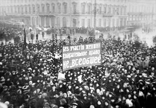 Women's Suffrage Demonstration on the Nevsky Prospect in Petrograd on March 8, 1917, 1917.