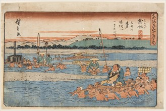 Kanaya (Crossing a wide river). From the Fifty-Three Stations of the Tokaido, 1830s.