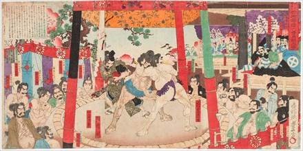 Sumo performed before Hideyoshi and Kato Kiyemasa, 1884.