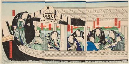 Sumo Wrestler Dairiki Maru on a boat with friends, 1864.