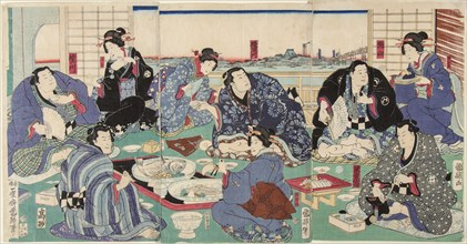Sumo wrestler Sakaigawa Namiemon (to the left), with other sumo wrestlers and geishas at a party, 18