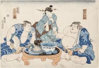 Sumo Wrestlers Kuroiwa and Zogahana with a geisha, ca 1845.