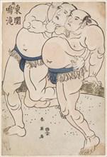 Sumo Wrestlers Naritaki and Higashiseki in Action, 1790s.