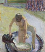 Nude Crouching in the Bathtub (Nu accroupi au tub), 1918. Creator: Bonnard, Pierre (1867-1947).