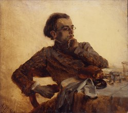 Richard Menzel, painter's brother at breakfast, 1848.