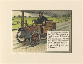 Motoritis, or other interpretations of the Motor Act. Non-Resident?s Licence Article XVI, 1906. Artist: Unknown