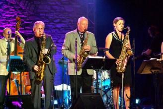 Jimmy Hastings, Scott Hamilton and Jo Fooks, Brecon Jazz Festival, Powys, Wales. Artist: Brian O'Connor