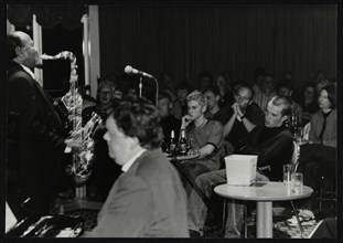 Benny Golson and Steve Melling playing at The Fairway, Welwyn Garden City, Hertfordshire, 1998. Artist: Denis Williams