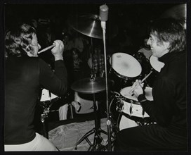 Drummers Les DeMerle and Kenny Clare, London, 1979. Artist: Denis Williams