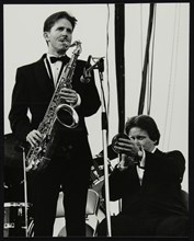 Scott Hamilton (tenor saxophone and Warren Vache (trumpet) at Knebworth, Hertfordshire, 1982. Artist: Denis Williams