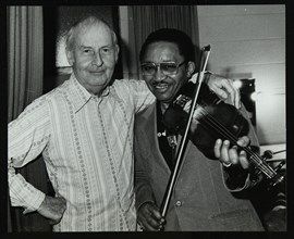Stephane Grappelli and Claude 'Fiddler' Williams at the Forum Theatre, Hertfordshire, 1980. Artist: Denis Williams
